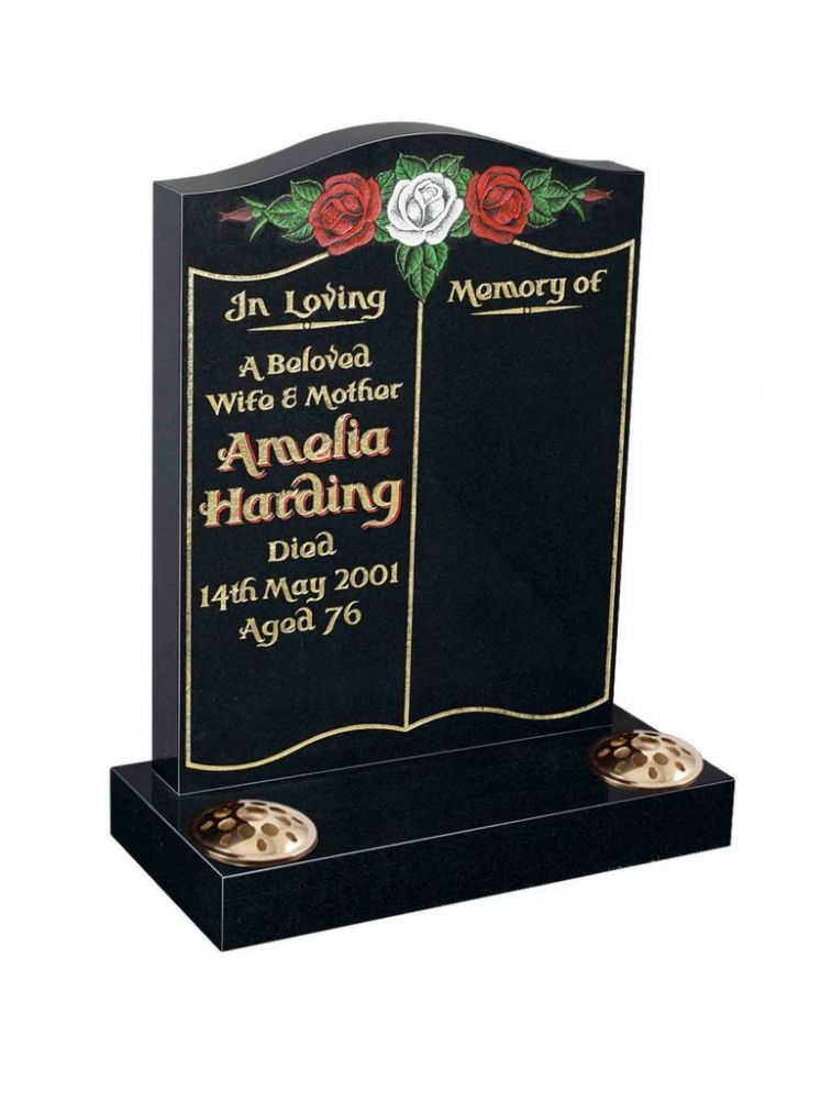 A classic book an rose design memorial with sand blasted roses BRY 116